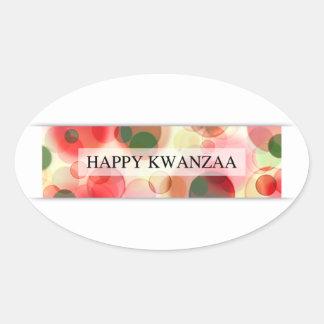 happy kwanzaa (bokeh) oval sticker