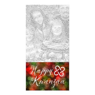 Happy Kwanzaa Bokeh Umoja Lights Card
