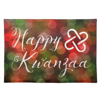 Happy Kwanzaa Bokeh Umoja Lights Cloth Placemat