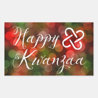 Happy Kwanzaa Bokeh Umoja Lights Rectangular Sticker