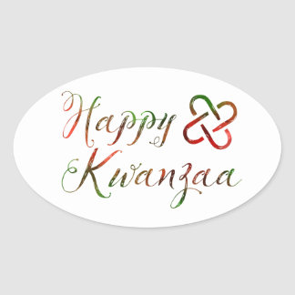 Happy Kwanzaa Bokeh Umoja Oval Sticker