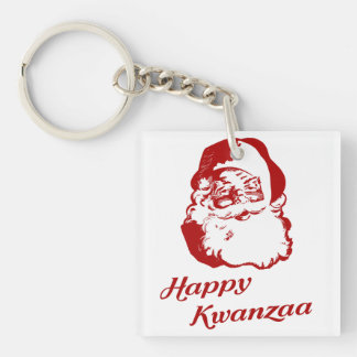 Happy Kwanzaa Christmas Santa Claus Keychain