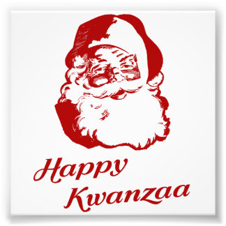 Happy Kwanzaa Christmas Santa Claus Photo Print