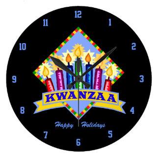 Happy Kwanzaa Round Clock