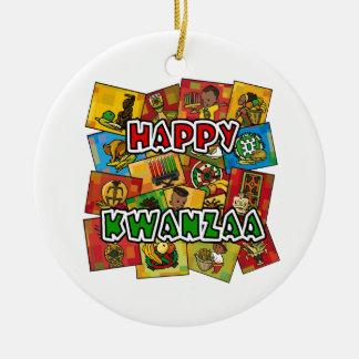 Happy Kwanzaa Collage Ceramic Ornament