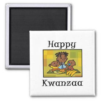 Happy Kwanzaa Family 2 Inch Square Magnet