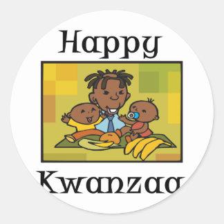 Happy Kwanzaa Family Classic Round Sticker