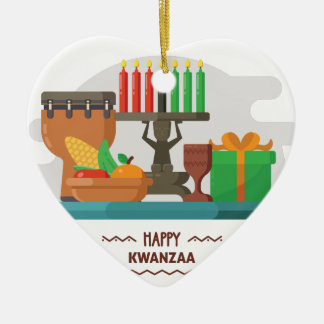 happy kwanzaa gifts ceramic ornament