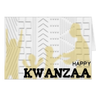 Happy Kwanzaa Mud Cloth design gold Card