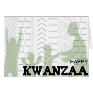 Happy Kwanzaa Mud Cloth design GREEN Card