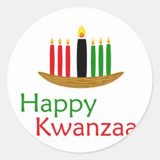 Happy Kwanzaa Round Stickers