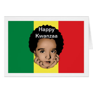 Happy Kwanzaa with African boy and African flag Card