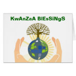 Happy Kwanzaa with earth in hands Greeting Cards