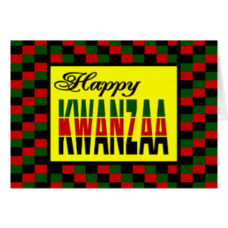 Happy Kwanzaa With Red, Black, and Green Border Greeting Card