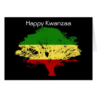 Happy Kwanzaa with tree in African colors Card