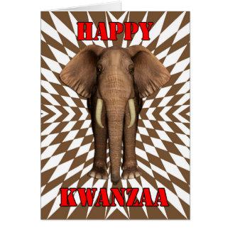 Happy Kwanzaa, Zany Pattern With Elephant, Card
