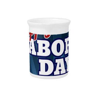 Happy Labor Day American Flag Design Pitcher