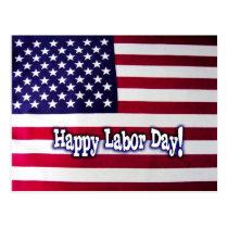 Happy Labor Day American Flag Postcard