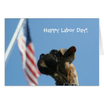 Happy Labor Day Boxer puppy greeting card