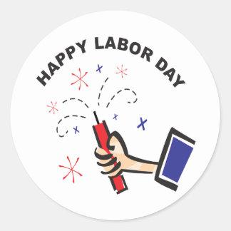 Happy Labor Day Classic Round Sticker