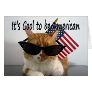USA Themed Happy Labor Day Cool Cat with Flag Greeting Card