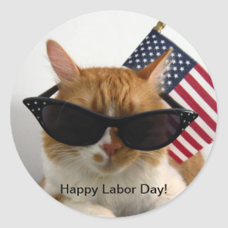 Happy Labor Day Cool Cat with Flag Sticker
