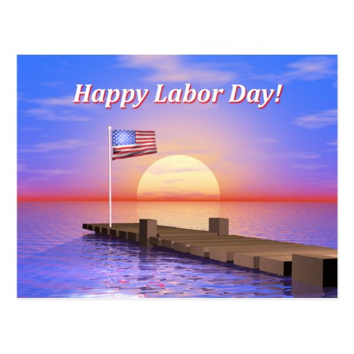 Happy Labor Day Dock Post Card