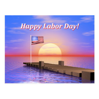 Happy Labor Day Dock Postcard