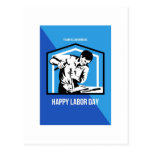 Happy Labor Day Fellow Workforce Retro Poster Postcard