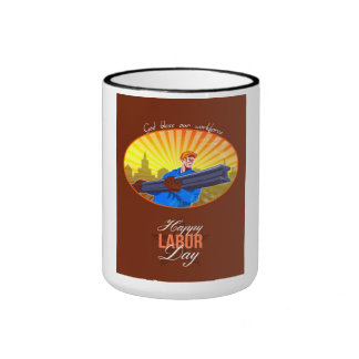 Happy Labor Day Steel Worker Greeting Card Ringer Mug