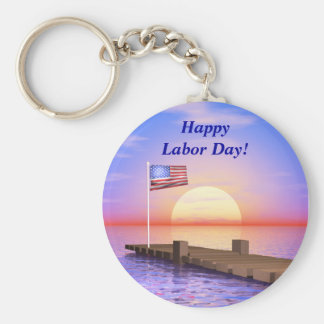 Happy Labor Day US Flag and Dock Basic Round Button Keychain
