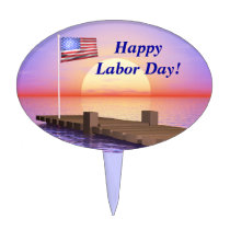 Happy Labor Day US Flag and Dock Cake Topper