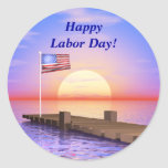 Happy Labor Day US Flag and Dock Classic Round Sticker