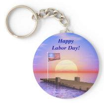 Happy Labor Day US Flag and Dock Keychain