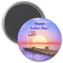 Happy Labor Day US Flag and Dock Magnet