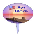 Happy Labor Day US Flag and Dock Oval Cake Topper