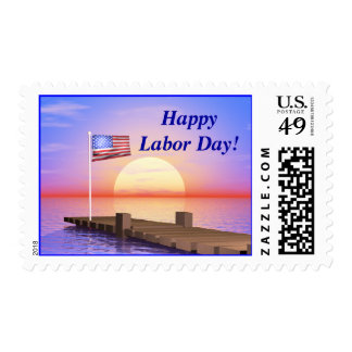Happy Labor Day US Flag and Dock Postage