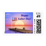 Happy Labor Day US Flag and Dock Postage Stamp
