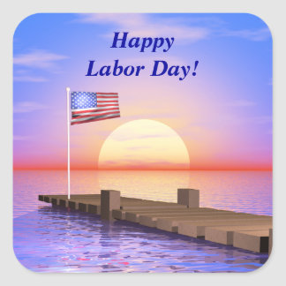 Happy Labor Day US Flag and Dock Square Sticker