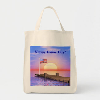Happy Labor Day US Flag and Dock Tote Bag