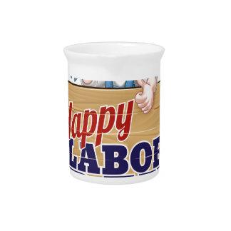 Happy Labor Day Workers Design Beverage Pitcher