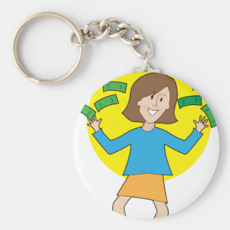 Happy Lady and Money Basic Round Button Keychain