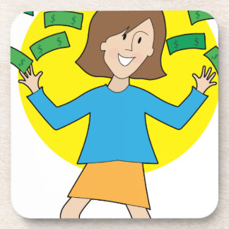 Happy Lady and Money Beverage Coaster