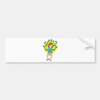 Happy Lady and Money Bumper Sticker