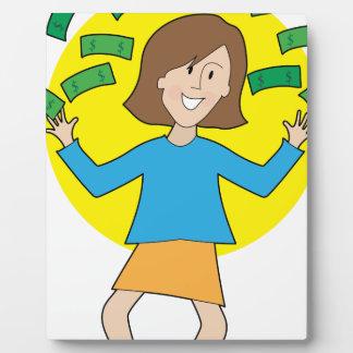 Happy Lady and Money Plaque