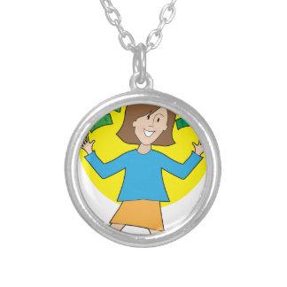 Happy Lady and Money Round Pendant Necklace