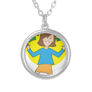 Happy Lady and Money Silver Plated Necklace