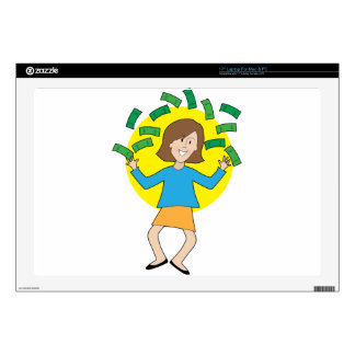 """Happy Lady and Money Skin For 17"""" Laptop"""