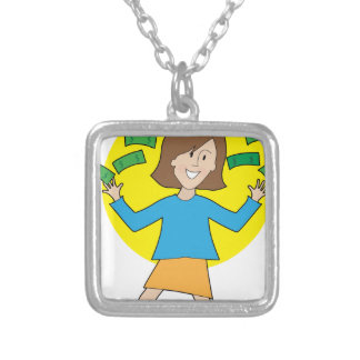 Happy Lady and Money Square Pendant Necklace