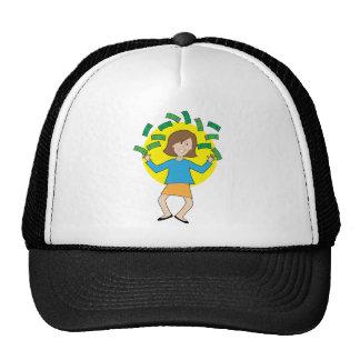 Happy Lady and Money Trucker Hat